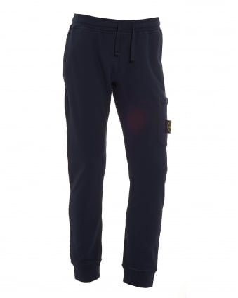 Mens Garment Dyed Trackpants, Cuffed Blue Marine Sweatpants