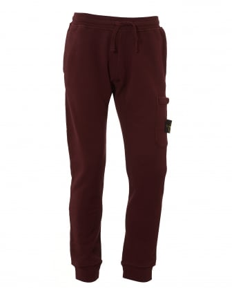 Mens Garment Dyed Trackpants, Cuffed Bordeaux Sweatpants