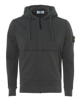 Mens Grey Garment Dyed Fleece Zip Hoodie