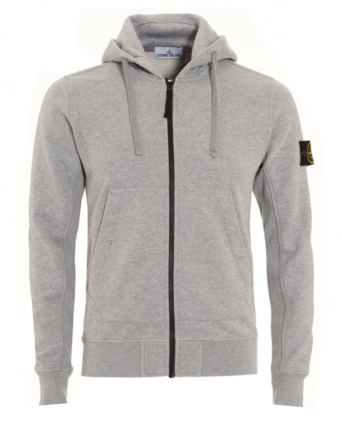 Stone Island Mens Hoodie Grey Dust Zip Hooded Sweatshirt