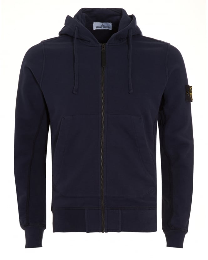 Stone Island Mens Hoodie Navy Blue Zip Hooded Sweatshirt