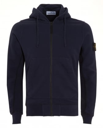 Mens Hoodie Navy Blue Zip Hooded Sweatshirt