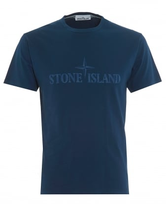 Mens Institutional T-Shirt, Large Logo Avio Blue Tee