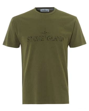 Mens Institutional T-Shirt, Large Logo Sage Green Tee