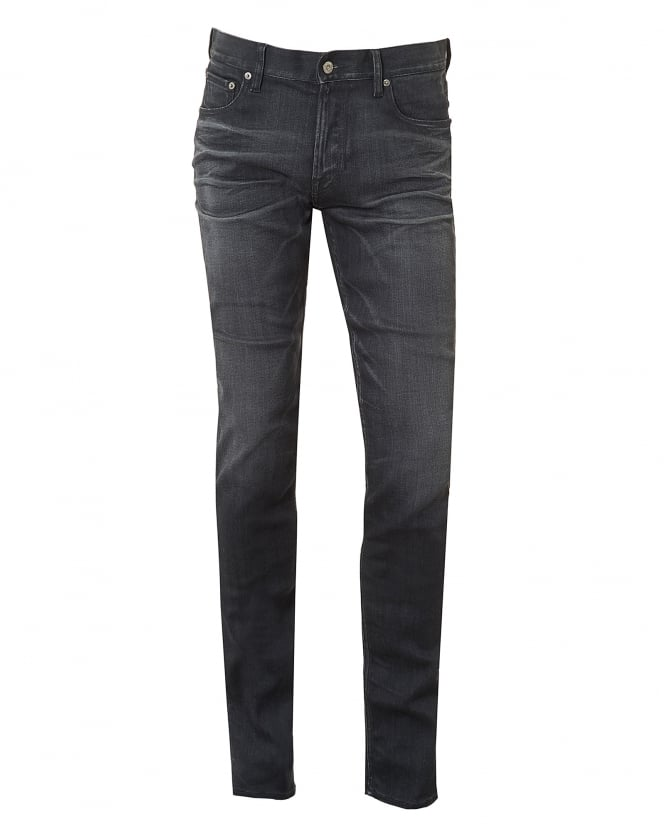 Stone Island Mens Jeans, Slim Fit Whiskered Stretch Cotton Grey Denim