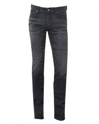 Mens Jeans, Slim Fit Whiskered Stretch Cotton Grey Denim