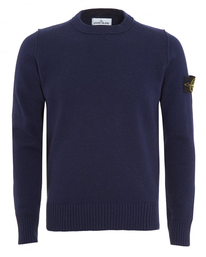 Stone Island Mens Jumper, Navy Blue Arm Badge Sweater
