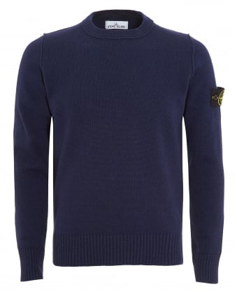 Mens Jumper, Navy Blue Arm Badge Sweater
