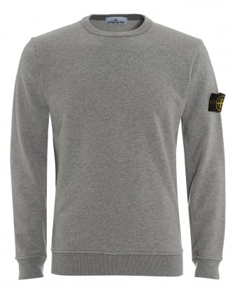 Mens Jumper, Polvere Grey Arm Badge Sweater