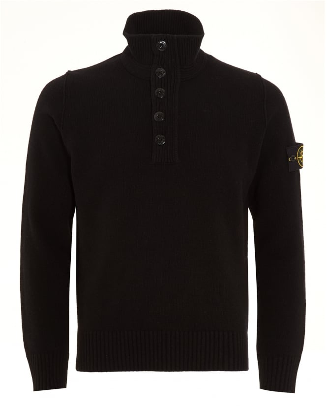 Stone Island Mens Jumper, Quarter Zip Black Sweater