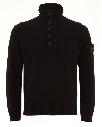 Mens Jumper, Quarter Zip Black Sweater