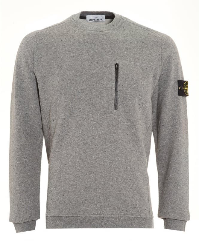 Stone Island Mens Jumper, Speckled Grey Sweater