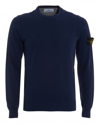 Mens Knitted Jumper, Blue Marine Badge Sweatshirt