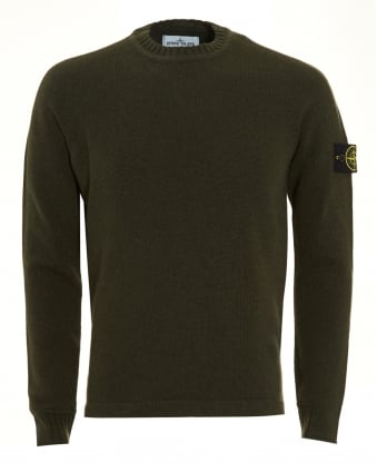 Mens Knitted Jumper, Military Green Badge Jumper