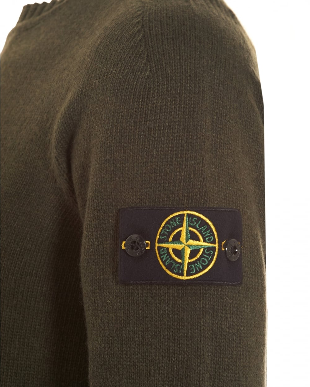 Stone Island Mens Knitted Jumper Military Green Badge Jumper