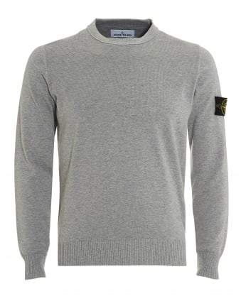 Mens Knitted Jumper, Polvere Grey Badge Sweatshirt