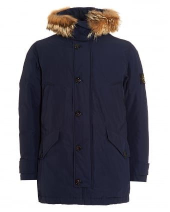 Mens Micro Reps Jacket, Navy Blue Down-Filled Fur Parka Coat