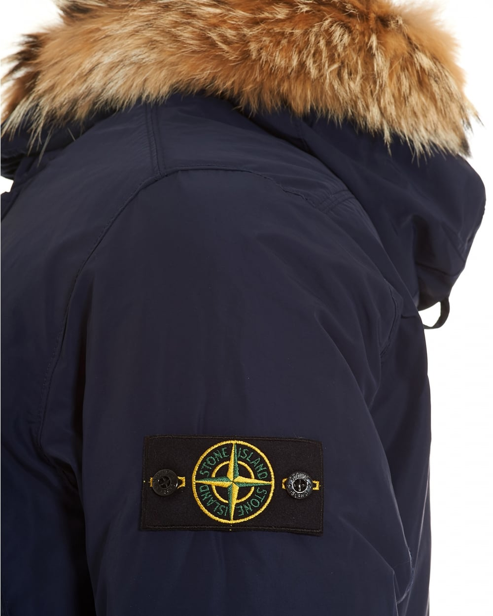 Stone Island Mens Micro Reps Jacket, Navy Blue Down-Filled Fur Parka C