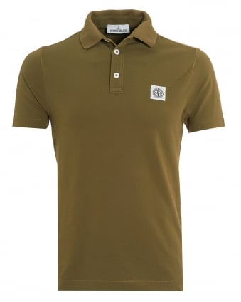 Mens Military Green Slim Fit Polo Shirt