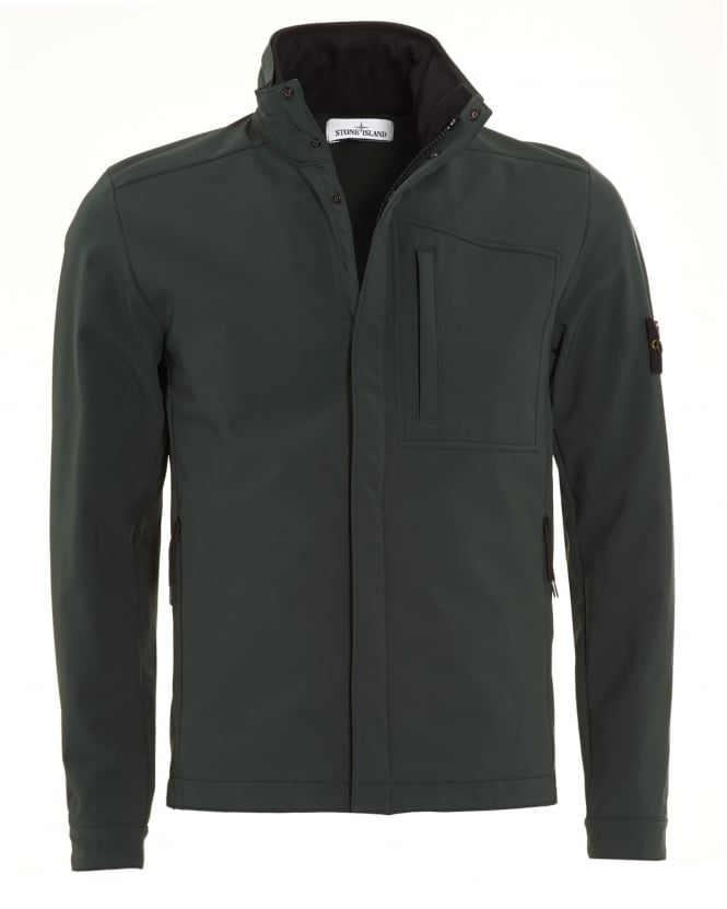 Stone Island Mens Military Green Soft Shell-R Waterproof Hooded Jacket