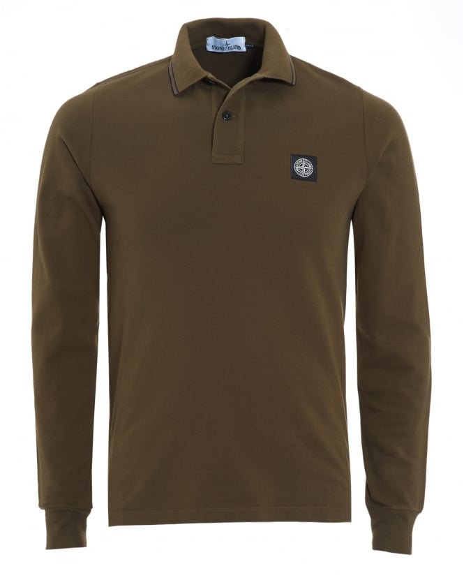 Stone Island Mens Military Green Tipped Long Sleeve Polo Shirt