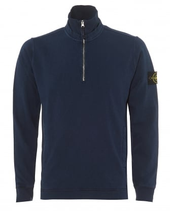 Mens Navy Blue Marine Garment Dyed 1/4 Zip Sweatshirt