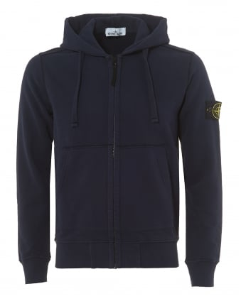 Mens Navy Blue Marine Garment Dyed Fleece Zip Hoodie
