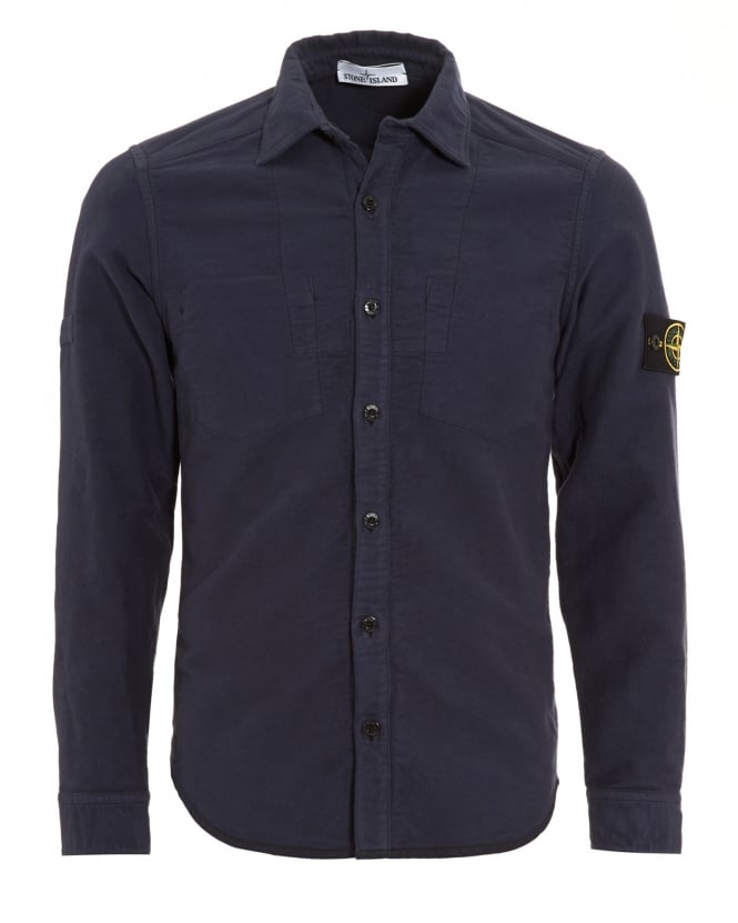 Stone Island Mens Navy Blue Reversible Shirt