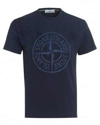 Mens Navy Blue T-Shirt, Regular Fit Compass Rust Pin Logo Tee