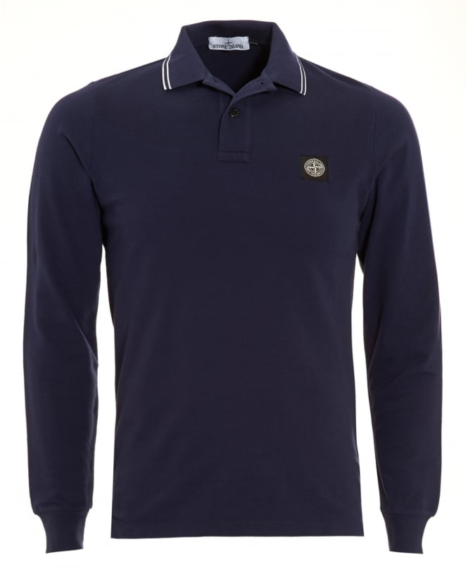 Stone Island Mens Navy Blue Tipped Long Sleeve Polo Shirt