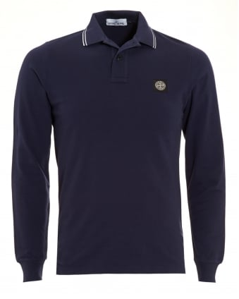 Mens Navy Blue Tipped Long Sleeve Polo Shirt