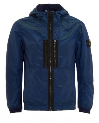 Mens Nylon Metal Jacket, Blue Indigo Metallic Weft Jacket