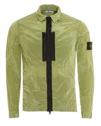 Mens Nylon Metal Overshirt, Pistachio Green Garment Dyed Jacket