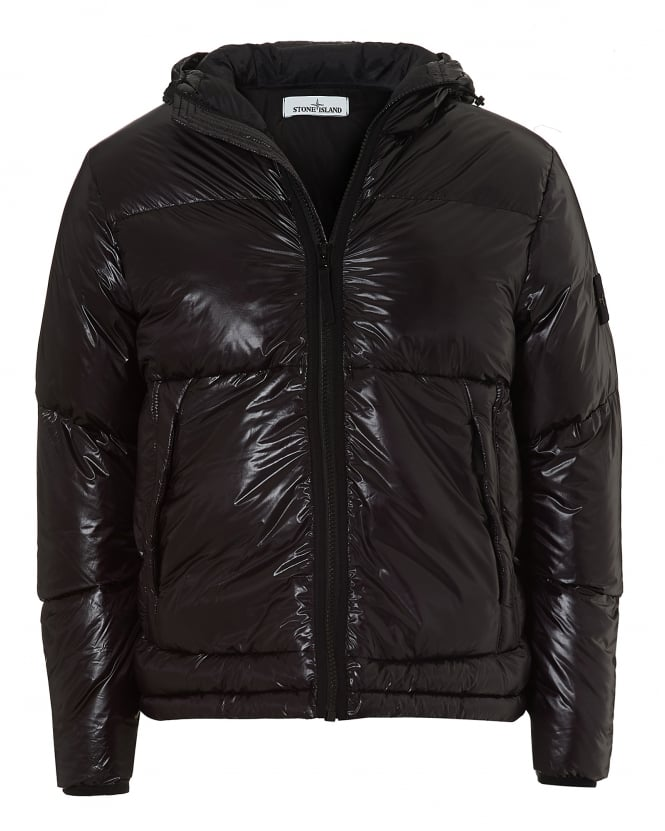 Stone Island Mens Pertex Quantum Y Jacket, High Gloss Finish Black Coat