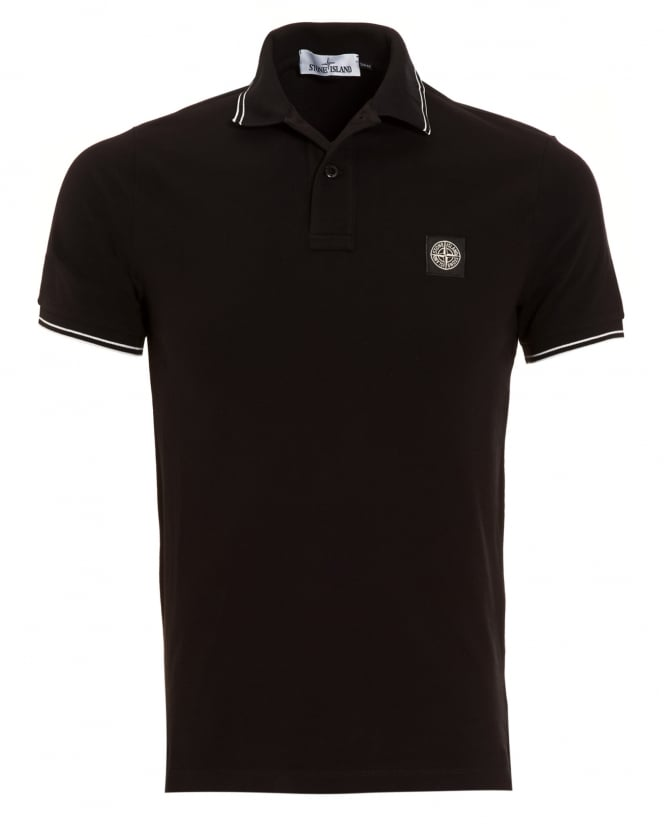 Stone Island Mens Polo Shirt, Black Tipped Logo Polo