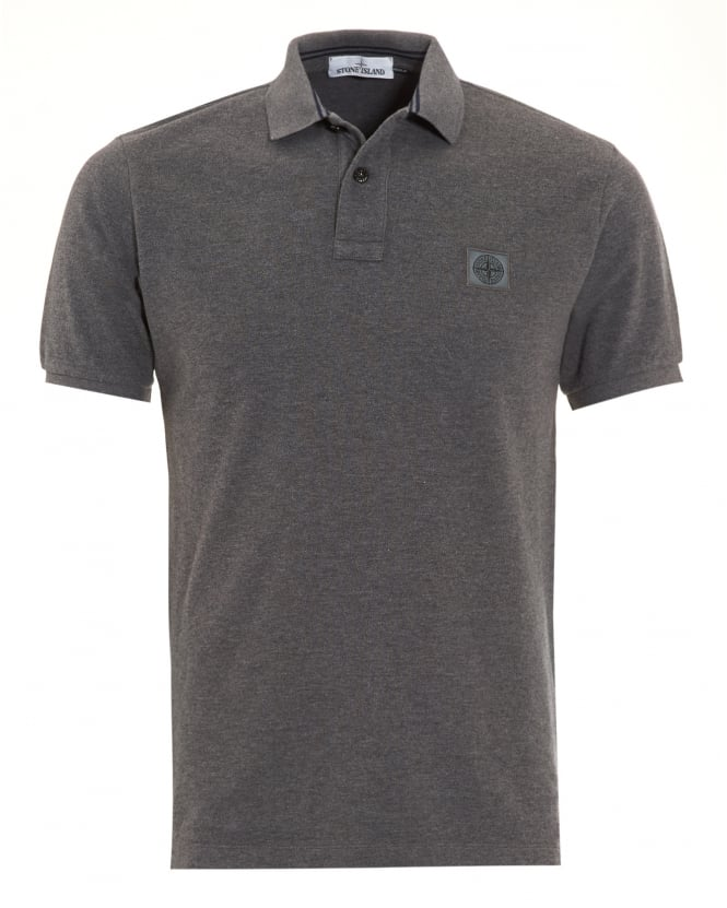 Stone Island Mens Polo Shirt, Grey Logo Regular Fit Polo