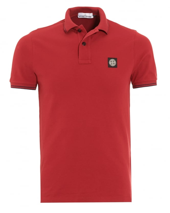 Stone Island Mens Polo Shirt, Red Tipped Logo Polo