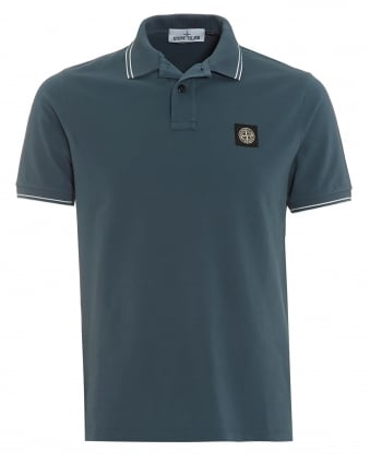 Mens Polo Shirt, Slim Fit Avio Blue Logo Polo