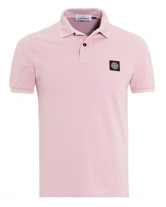 Mens Polo Shirt, Slim Fit Rosa Quarzo Pink Logo Polo