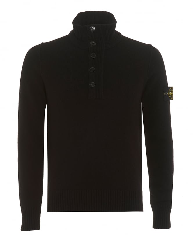 Stone Island Mens Quarter Zip Jumper, Reversed Seam Black Sweater