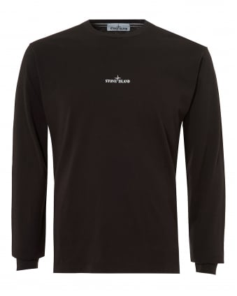 Mens Reflective Pin T-Shirt, Long Sleeve Black Tee