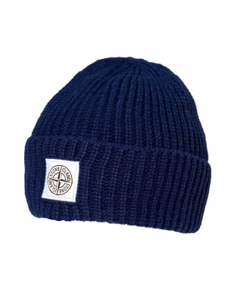 Mens Ribbed Beanie, Patch Logo Blue Marine Hat
