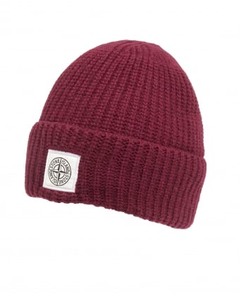 Mens Ribbed Beanie, Patch Logo Bordeaux Hat