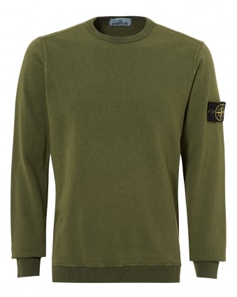 Mens Sage Green Garment Dyed Compass Logo Sweatshirt