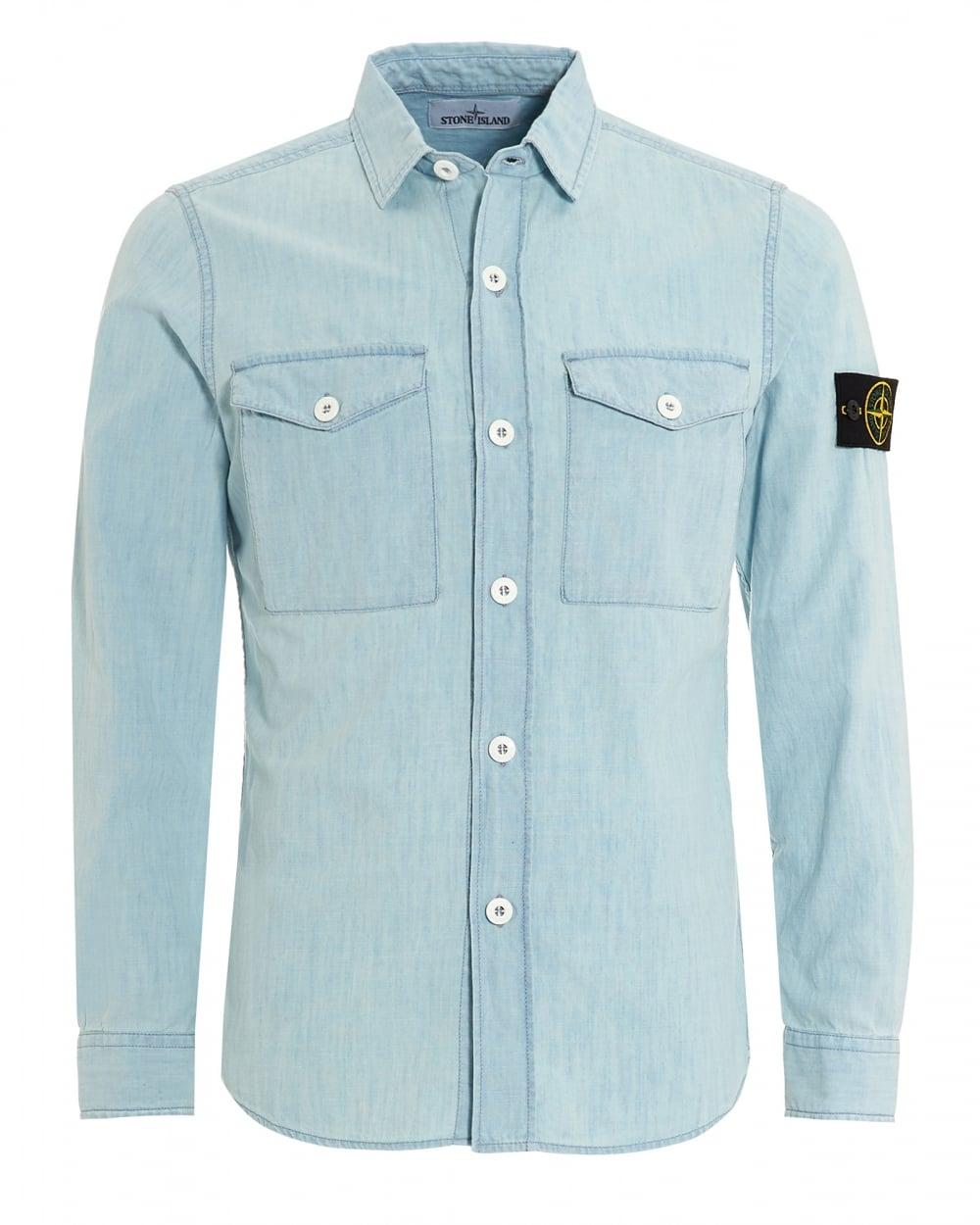 Stone Island Mens Shirt Light Blue Chambray Bleach Denim