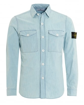 Mens Shirt, Light Blue Chambray Bleach Denim Shirt