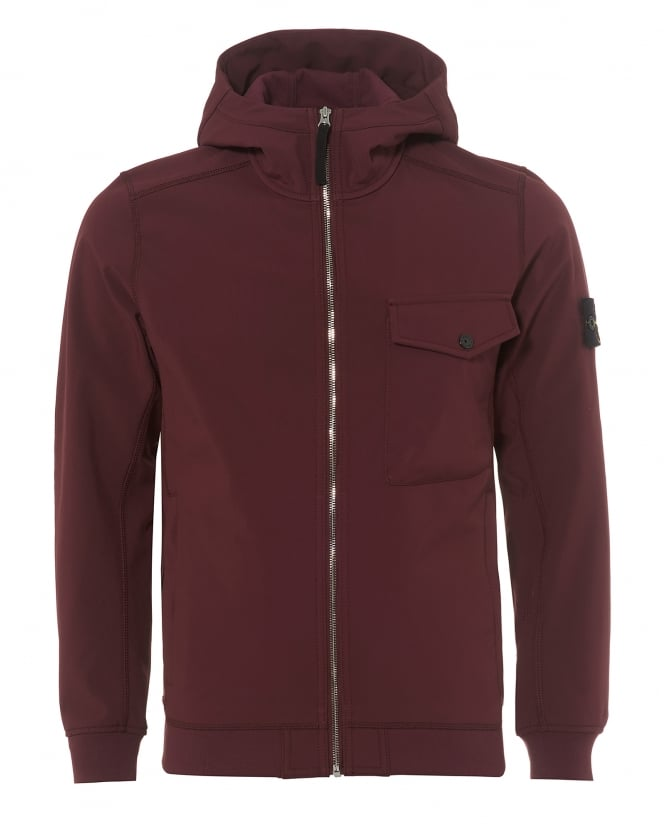 Stone Island Mens Soft Shell-R Hooded Burgundy Red Jacket