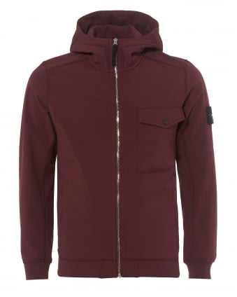 Mens Soft Shell-R Hooded Burgundy Red Jacket