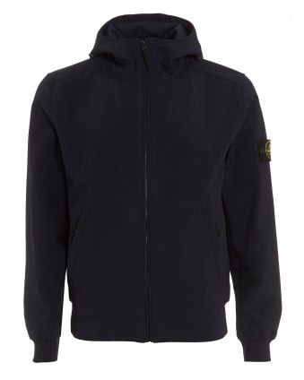 Mens Soft Shell-R Navy Blue Hooded Field Jacket