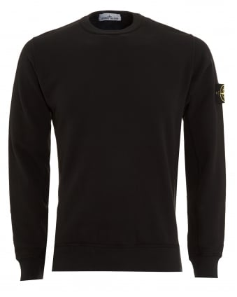 Mens Sweatshirt, Black Dyed Logo Badge Jumper